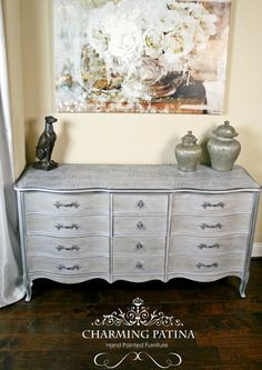 French Provincial Crocodile Top Buffet by CharmingPatina on Etsy  Chalk painted dresser Annie Sloan Paris grey dining room bedroom