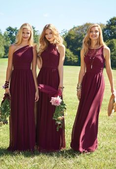 For the bride who is going for the modern day princess look, you need to have your bridesmaids wear this beautiful a-line halter dress! This classic dress is complete with an illusion halter, pleated bodice, a fabric band and a stunning chiffon skirt! They will look amazing walking down the aisle in this dress as well as in your adored pictures for years to come! #camillelavie
