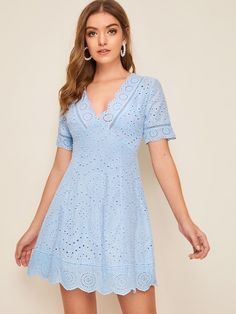 To find out about the Plunging Neck Scallop Trim Bustier Schiffy Dress at SHEIN, part of our latest Dresses ready to shop online today! Dress Outfits, Casual Dresses, Short Dresses, Fashion Dresses, Summer Dresses, Bustiers, Eyelet Dress, Embroidery Dress, Latest Dress