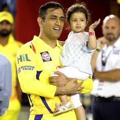 MS Dhoni with his little princess Ziva after the match  #IPL2018 #KXIPvCSK #CSKvKXIP - facebook.com/MyCricketTrolls