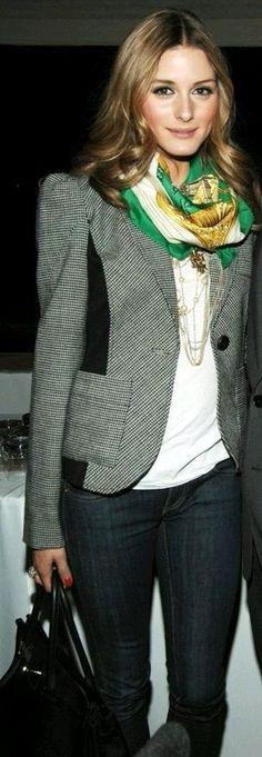 Blazer, t shirt, silk scarf, dark jeans