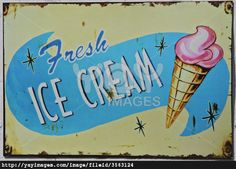 Ice Cream Signage | Classic, vintage metal, advertising sign for fresh icecream.
