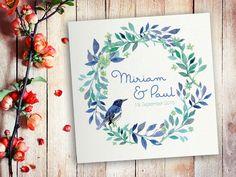 Einladungskarten - Musterkarte Hochzeit Aquarell Vogel - ein Designerstück von…