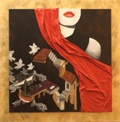 "Dama Bianca ""Sognando Escher II "" Cm 60x60"