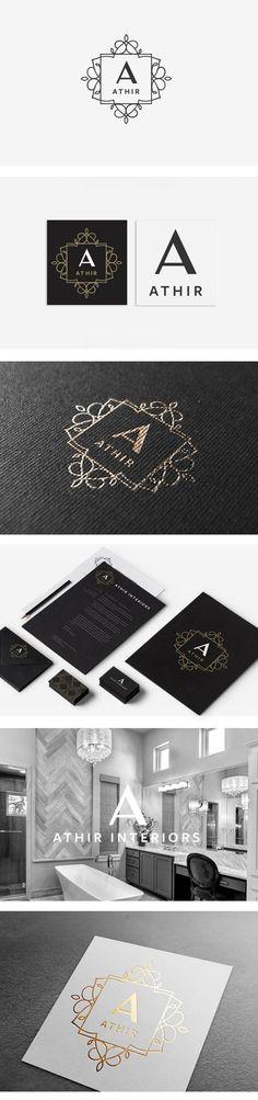 Clean logo design, monogram, gold, logo, design, a, elegant, clean, professional, branding, black, white, ornate, frame, interior, design