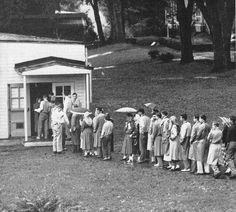 Student registration line outside Rec Hall, 1952.
