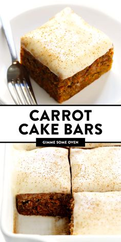 This carrot cake bars recipe is easy to make, perfectly moist and lightly spiced and full of fresh carrots, and topped with the most heavenly cream cheese frosting. Köstliche Desserts, Delicious Desserts, Amazing Dessert Recipes, Vegetarian Desserts, Desserts To Make, Food Cakes, Cupcake Cakes, Cupcakes, Brownies