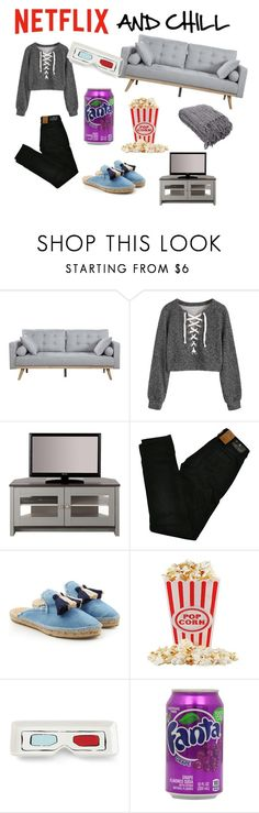 """NETFLIX AND CHILL"" by explorer-15127432777 ❤ liked on Polyvore featuring Buckler, Maison Scotch, Castañer and Kate Spade"