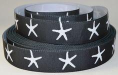 7/8 White Starfish on Black Grosgrain Ribbon