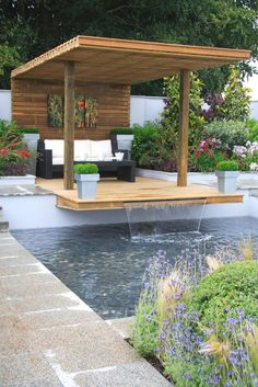 Very cosy covered deck with water feature