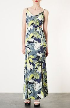 Topshop Leaf Print Cutout Maxi Dress available at #Nordstrom