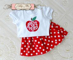 Back to School Outfit Apple Outfit Apple Twirl by AddysAtticOnEtsy