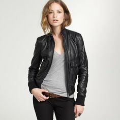 I'm not really a leather bomber jacket kind of girl but I love how simple and stylish this is
