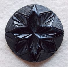 CARVED BAKELITE Large Black Vintage Estate Button.