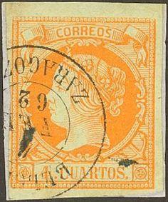 Aragon-Filatelia-52-1860-4-cuartos-amarillo-Matasello-BELCHITE-ZARAGOZA