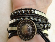 Mens leather wrap bracelet black and silver unisex chan luu bohemian southwestern syle leather jewelry for him. $58.95, via Etsy.