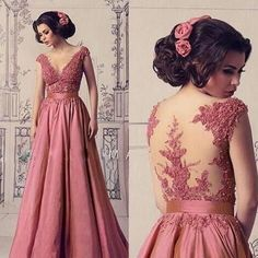 Mother Of The Bride Lace Prom Dresses, Evening Gowns A Line V Neck Short Sleeve Prom Dress Evening Dresses Short Sleeve Prom Dresses, Pink Prom Dresses, Wedding Party Dresses, Dress Long, Lace Dresses, Satin Formal Dress, Formal Dresses, Mother Of The Bride, Evening Dresses