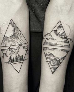 Tattoos geometric earth tattoo, geometric mountain tattoo, geometric tattoo l Couple Tattoos, Love Tattoos, Beautiful Tattoos, Black Tattoos, Body Art Tattoos, New Tattoos, Tattoos For Guys, Tatoos, Amazing Tattoos