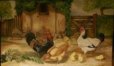 Hen rooster chicken farm