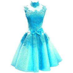 Bess Bridal Women's Lace Tulle High Neck Short Prom Homecoming Dresses... ($80) ❤ liked on Polyvore featuring dresses, blue dress, tulle prom dress, homecoming dresses, blue homecoming dresses and blue cocktail dresses