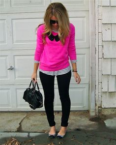 Loving the hot pink with short black necklace with the stripe shirt to blend it