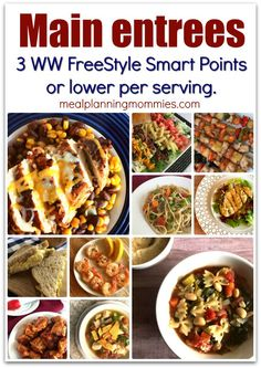 You will love this list of over 50 main entree recipes that are all 0-3 Weight Watcher FreeStyle SmartPoints per serving with links to each recipe.