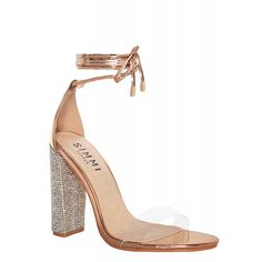 214e3e063799 Perrie Rose Gold Clear Lace Up Diamonte Heels   Simmi Shoes