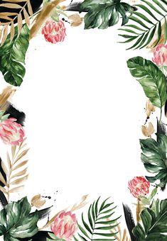 Framed Wallpaper, Flower Background Wallpaper, Flower Backgrounds, Wallpaper Backgrounds, Tropical Background, Bridal Shower Invitations, Birthday Invitations, Card Birthday, Birthday Greetings