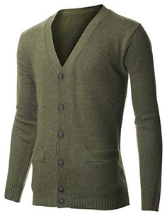FLATSEVEN Mens Classic V-Neck Long Sleeve Lambswool Blend Sweater Cardigan (C400) Olive, XL FLATSEVEN http://www.amazon.com/dp/B00RHT5FU2/ref=cm_sw_r_pi_dp_vaC0ub1F2DFBF #Sweater #Cardigan #Men #Fashion #FLATSEVEN #mens fashion