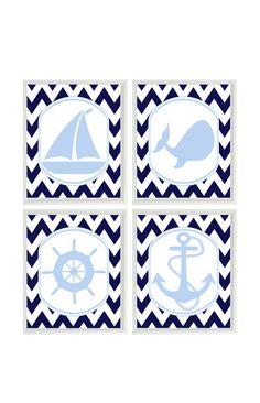 Guardería náutica Art Print Set rueda de velero ancla