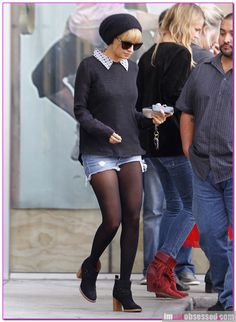 Lovin' the tights and shorts paired with ankle boots