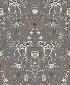 Etosha is a quirky mirrored jacobean damask wallpaper. It features a jacobean damask, printed in a contrast of matt and metallic inks, along with a pair of zebra. Quirky Wallpaper, Zebra Wallpaper, Rose Gold Wallpaper, Book Wallpaper, Wallpaper Samples, Animal Wallpaper, Wallpaper Roll, Wildlife Wallpaper, Modern Color Palette