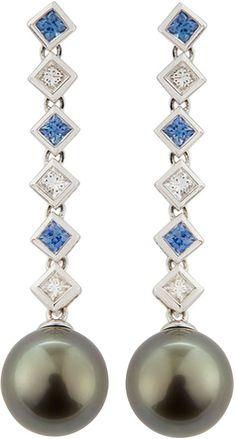 Belpearl Sapphire, Diamond & Tahitian Pearl Earrings - 10% off, now $1890.0 @ #LastCallByNeimanMarcus