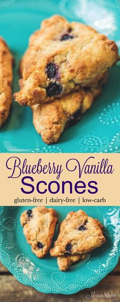 Easy to make Blueberry Vanilla Scones, perfect for breakfast or with afternoon tea. Gluten-free, Dairy-free, Sugar-free, Low-carb, THM-S.