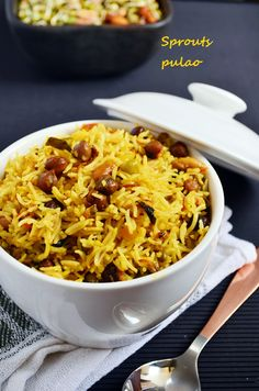 {New post} Sprouts pulao recipe: Healthy,wholesome and delicious pulao with with homemade mixed beans sprouts,step by step recipe @ http://cookclickndevour.com/sprouts-pulao-recipe