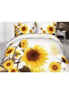 New Arrival Cotton Skin Care Optimistic Sunflower Print 4 Piece Bedding Sets/Comforter Sets