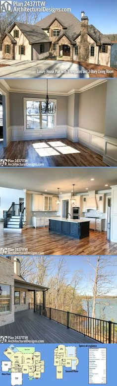 Just a sampling of the 50+ photos we have of Architectural Designs Luxury House Plan 24371TW built on a rear-sloping lot in the woods. The home gives you 4 beds, 4.5 baths and over 4,300 square feet of heated living space. Ready when you are. Where do YOU want to be?