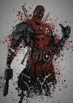 """Merc with a mouth""  (by request) Splatter effect artwork inspired by Deadpool From Marvel Comic books"