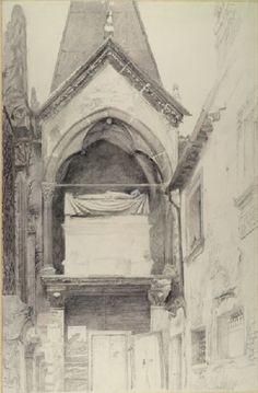 Ruskin, John - The Tomb of Cangrande I della Scala, Verona Pre Raphaelite Brotherhood, Drawing School, John Everett Millais, John Ruskin, Building Illustration, English Artists, Drawing Websites, Urban Sketching, Italian Art