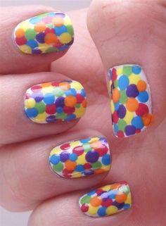 Polka dot nails - Doing this as soon as I get yellow.