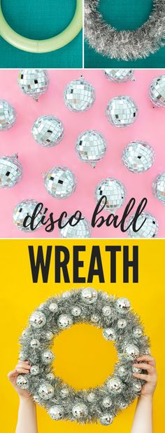 A snazzy New Years wreath to transform any door for this years New Years party. A disco ball DIY project with step-by-step instructions Diy Projects For Adults, Diy Craft Projects, Craft Tutorials, Craft Ideas, Decor Ideas, Diy Crafts, Christmas Crafts For Kids To Make, Christmas Diy, New Year's Eve Crafts