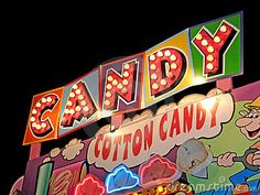 Cotton candy carnival sign in light bulbs