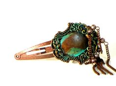Copper Hair Clip Ornate Hair Clip Decorative Beaded by recreated1, $9.00