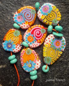 jasmin french 'summer in a village' lampwork beads by jasminfrench