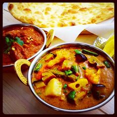 Vegetable Curry  Chicken Curry  Naan  i adore indian food