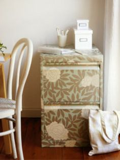 The Bride's Diary - DIY: How to wallpaper a filing cabinet