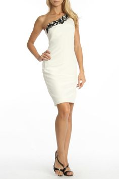 Marchesa Lace & Bead One Shoulder Dress In Black & White -