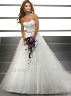Pronto para venda frete grátis 2013 Popular Branco / Marfim apliques Tulle Material de bola vestidos de casamento de luxo / Vestidos WD0346 98.00