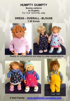 """humpty dumpty"" - english : patrons-et-modeles par doll-family Humpty Dumpty, Blouse, Overalls, Sewing Patterns, English, Dolls, Dresses, Tutorials, Tricot"