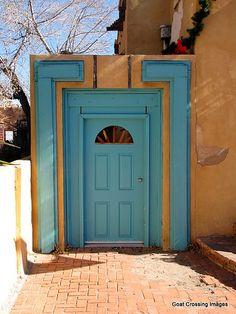 Turquoise door Old Town Albuquerque